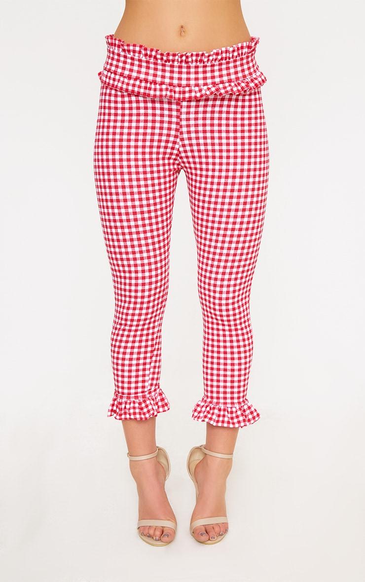 Petite Red Gingham Frill Hem Trousers 2