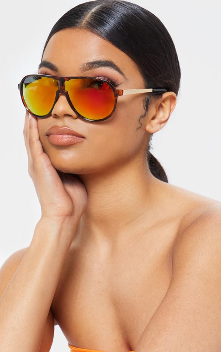 Gold Revo Lens Tortoiseshell Visor Sporty Sunglasses 1