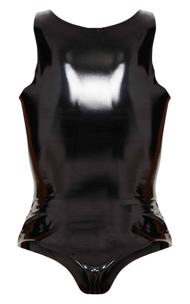 Black Vinyl Scoop Neck Bodysuit 4