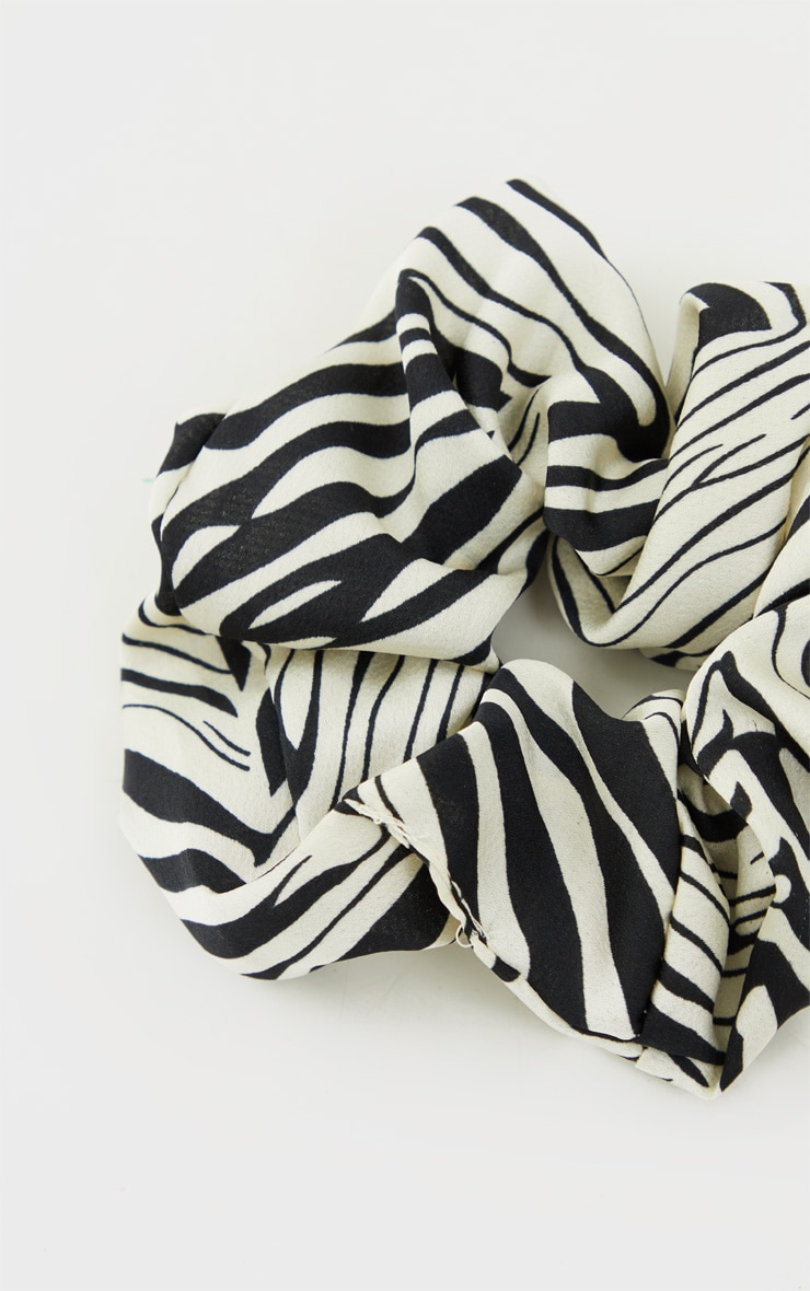 Black Zebra Satin Scrunchie 3