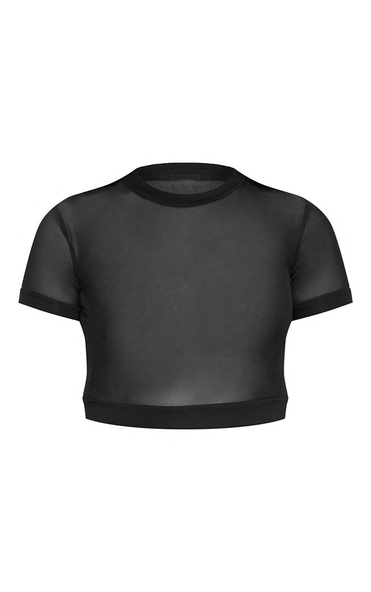 Black Sheer Mesh Short Sleeve Crop Top 3
