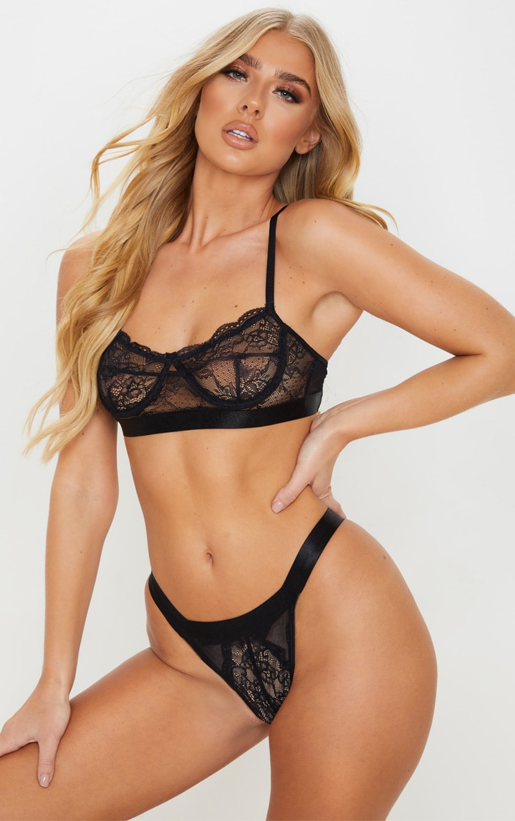 Black Delicate Lace Underwired Bra And Knicker Set 1