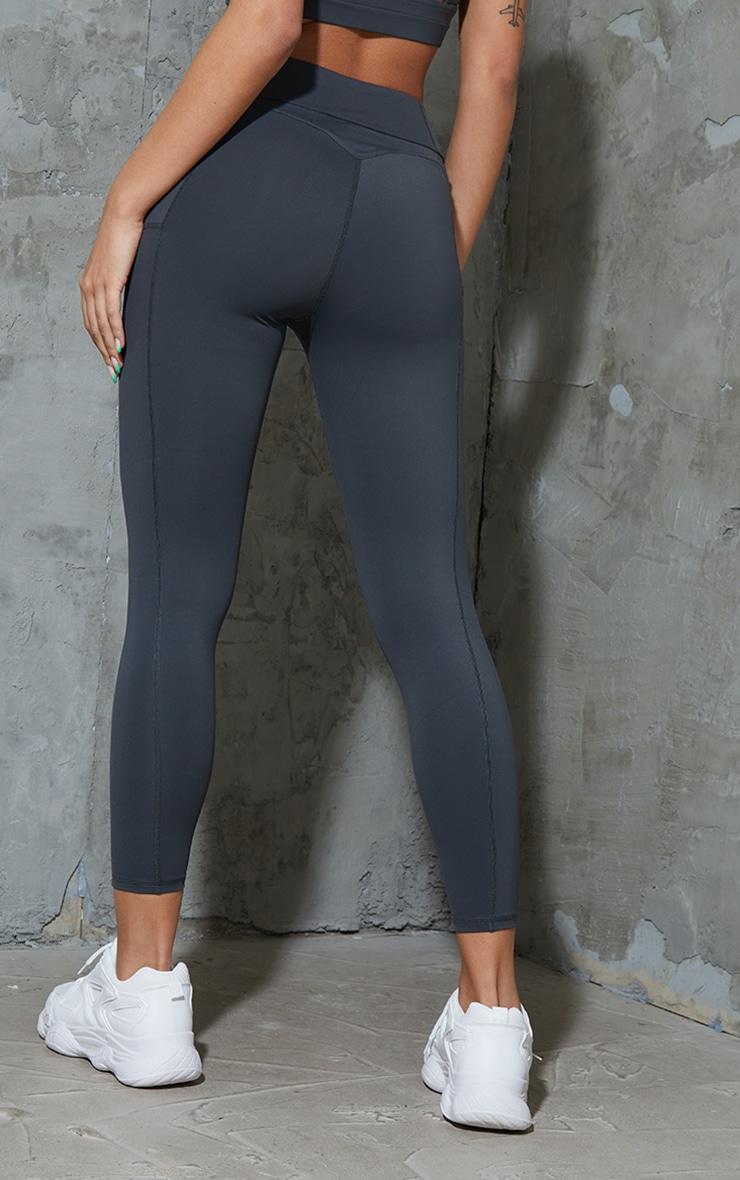 Charcoal Super High Waist Pocket Detail Gym Leggings 3