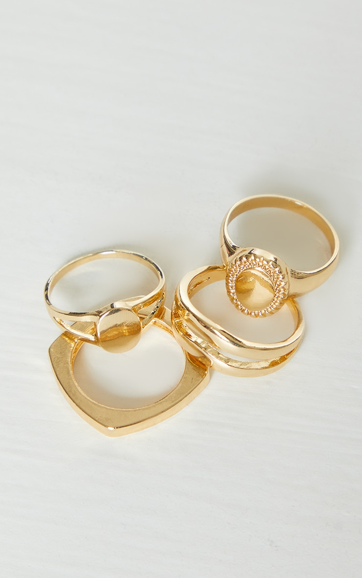 Gold Assorted 4 Pack Rings 2