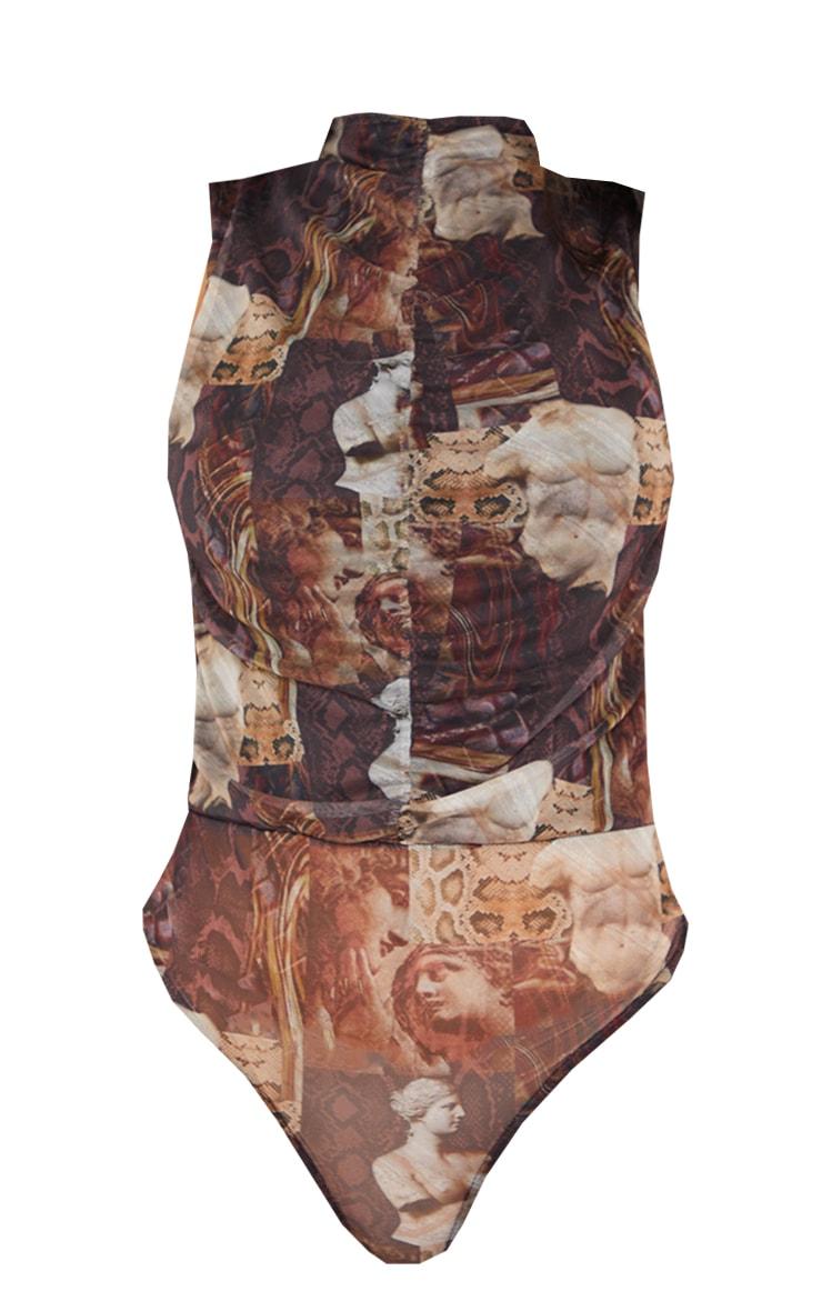 Brown Animal Renaissance Printed Mesh Ruched Front Bodysuit 5