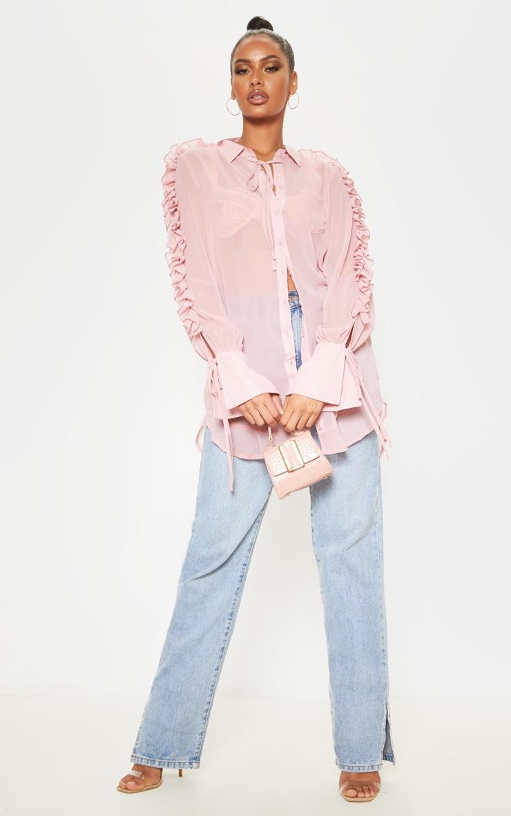 Pink Chiffon Ruffle Sleeve Blouse 1
