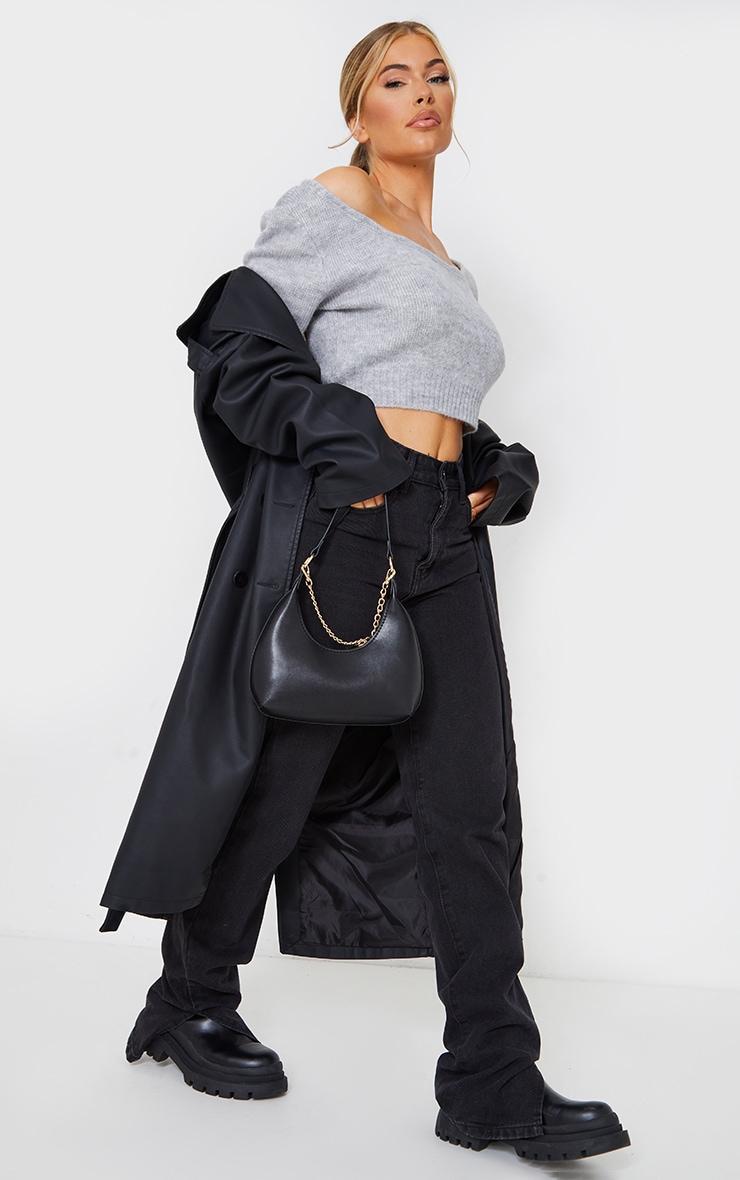 Grey V Neck Off Shoulder Soft Knitted Crop Jumper 3