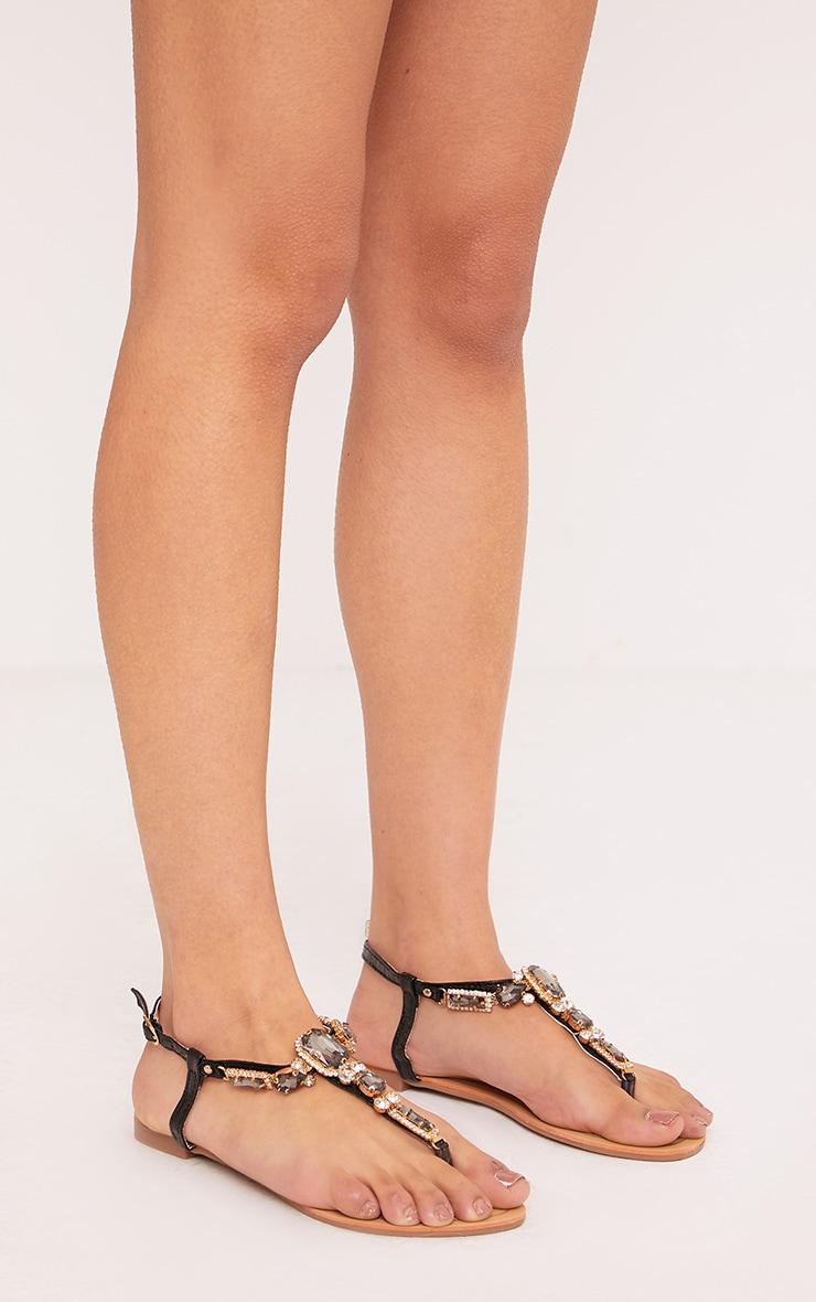 Melinna Black Jewelled Sandals 1