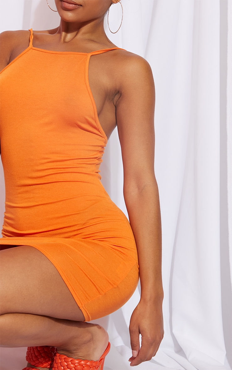 Orange 90s Neck Bodycon Dress 4