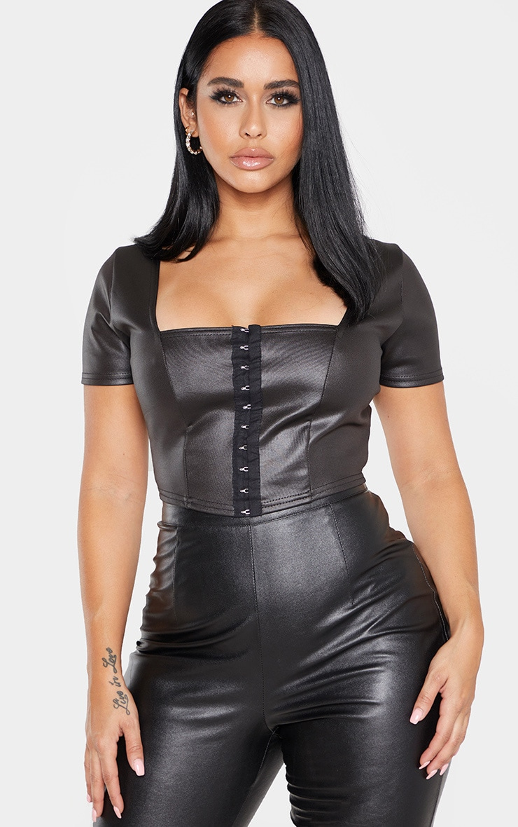 Shape Black PU Hook and Eye Crop Top 1