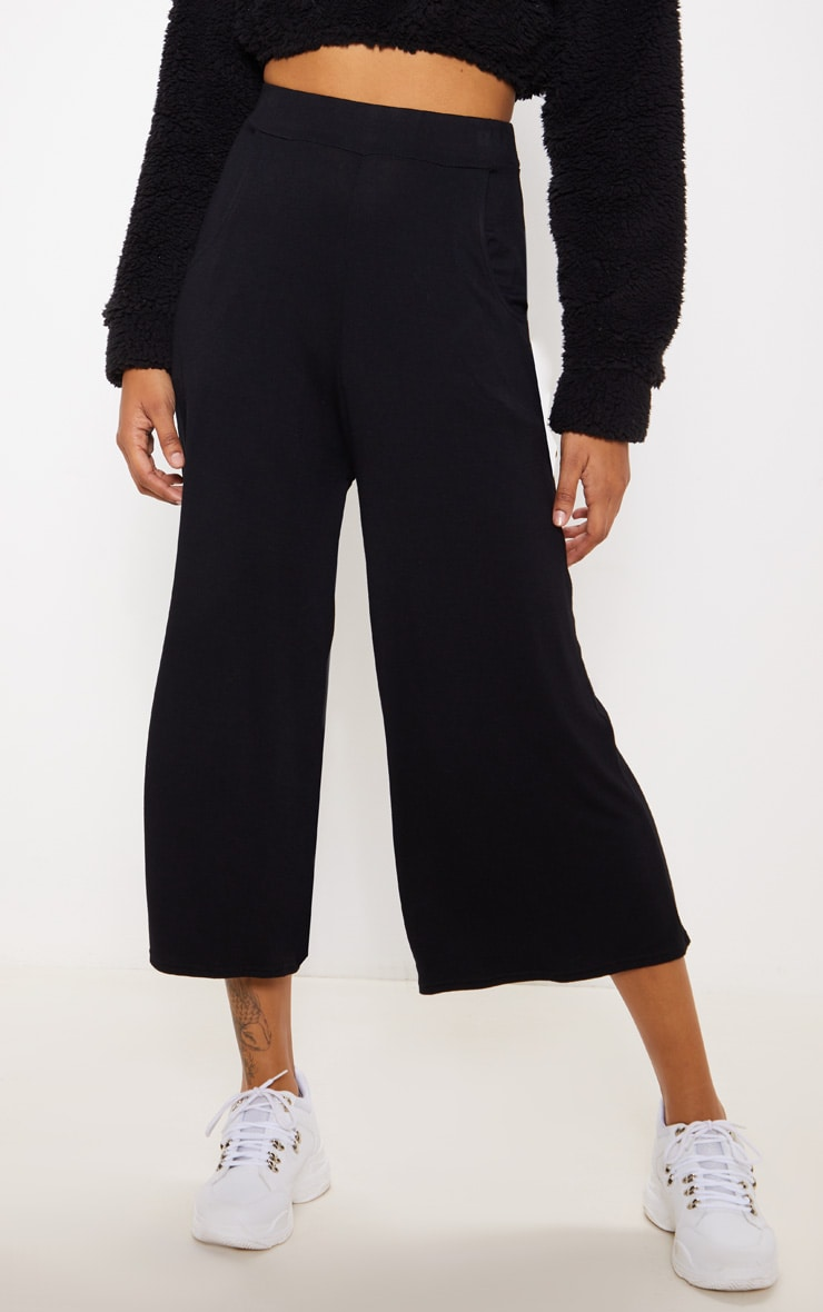 Black Jersey Pocket Detail Culotte 2