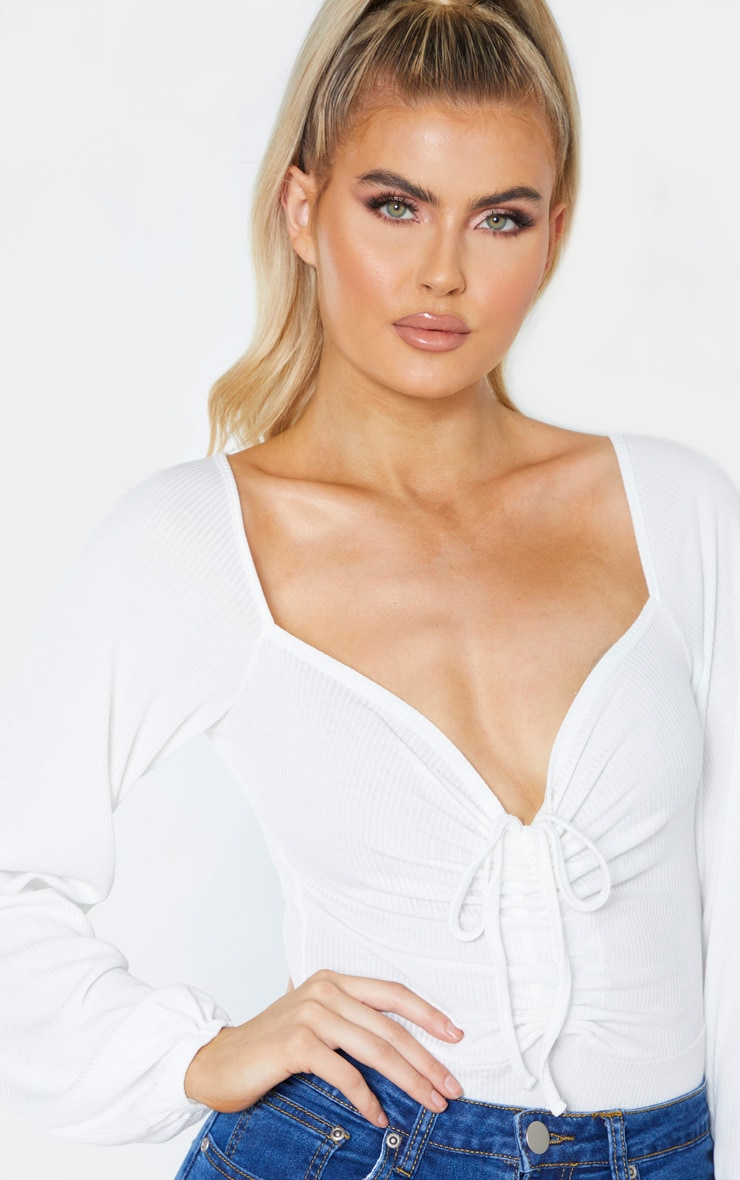 Tall Cream Ribbed Ruched Detail Long Sleeve Bodysuit 6