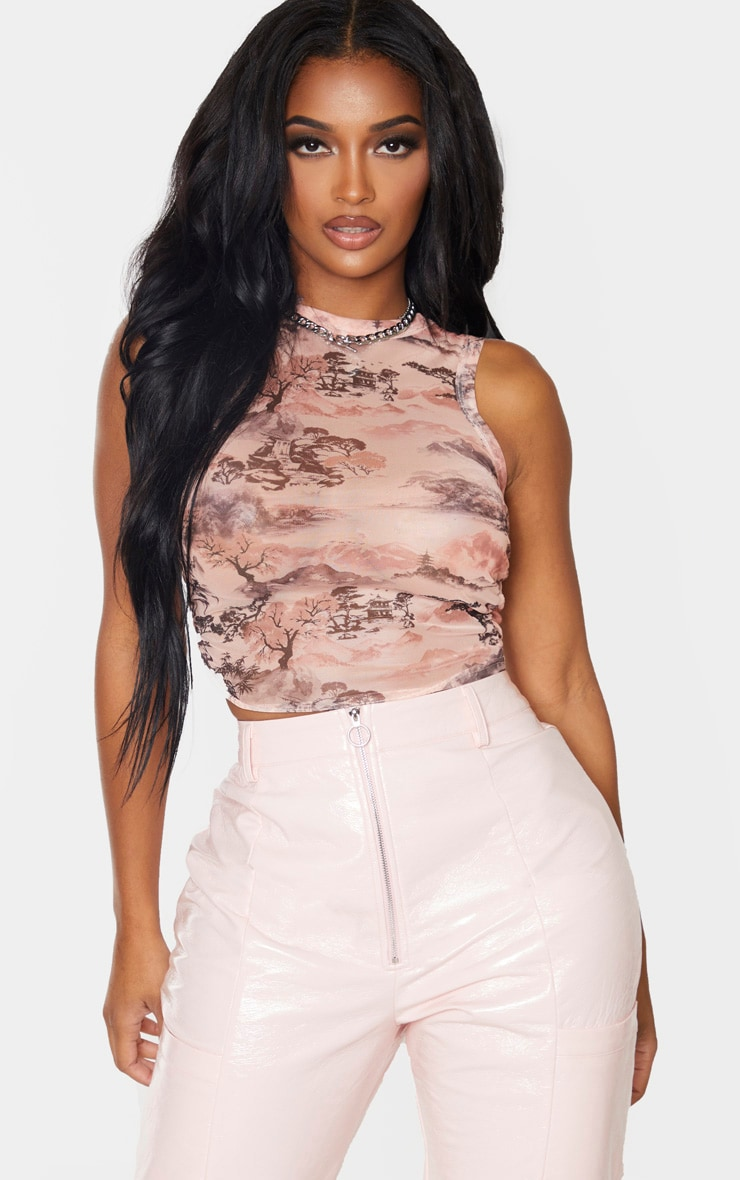 Shape Nude Oriental Print Mesh Ruched Side Sleeveless Crop Top 1