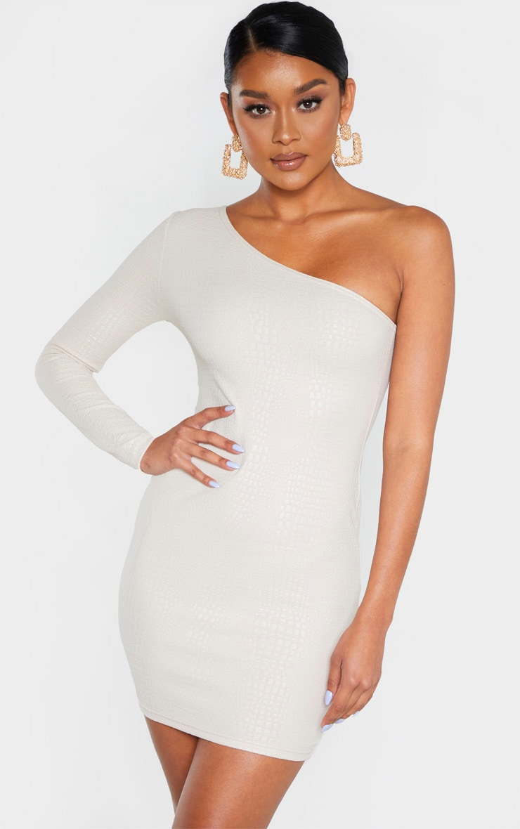 Nude Textured Croc One Shoulder Bodycon Dress 1