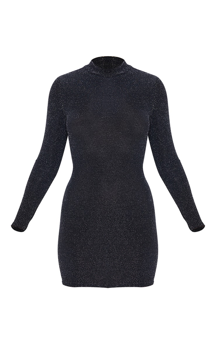 Silver Glitter High Neck Long Sleeve Cut Out Back Bodycon Dress 3