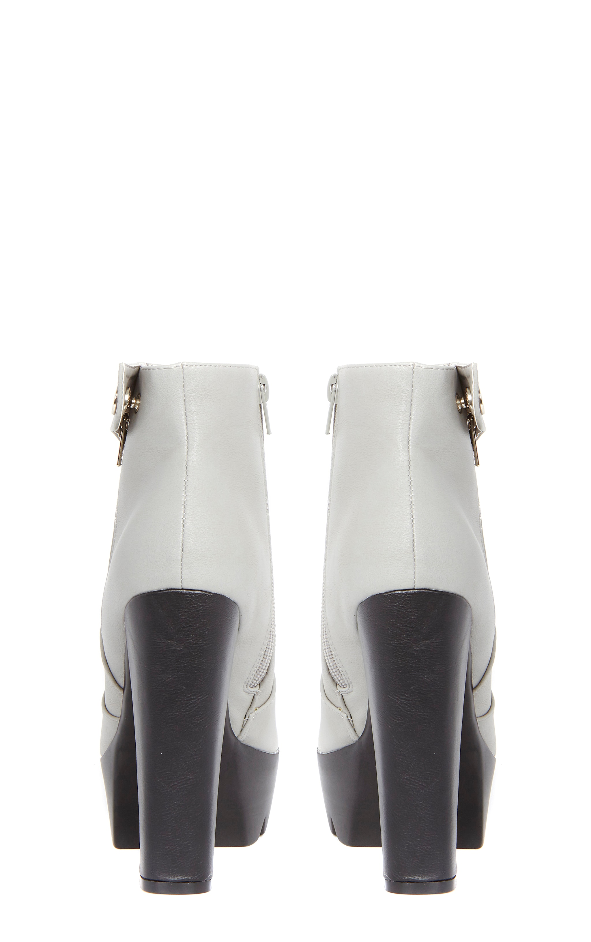 Liberty Grey Cleated Sole Zip Detail Boot  2
