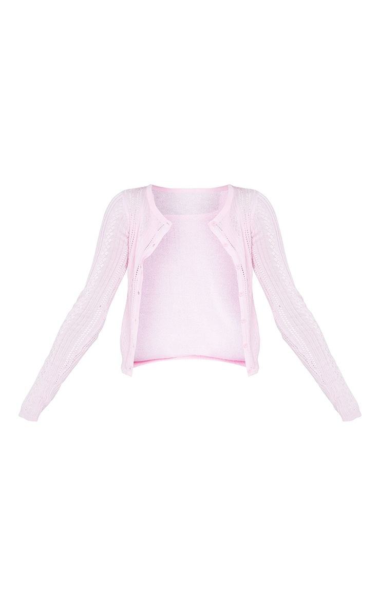 Baby Pink Button Front Pointelle Knitted Cardigan 5