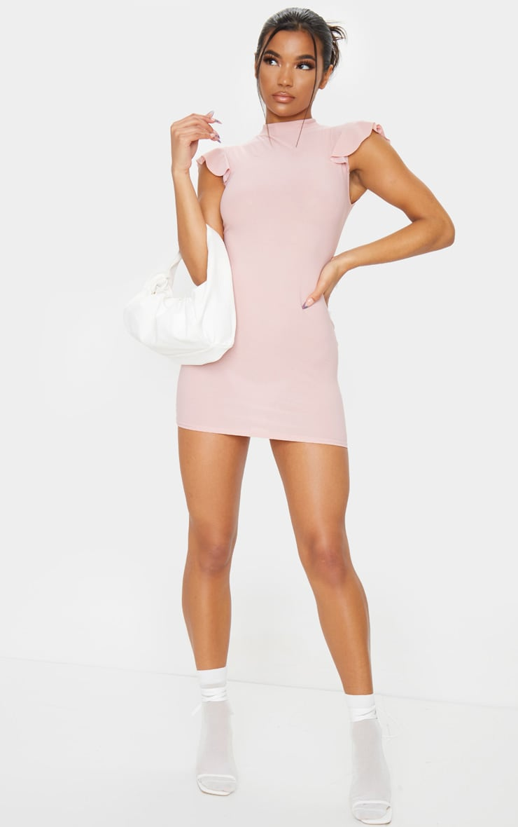 Rose High Neck Cap Sleeve Bodycon Dress 3