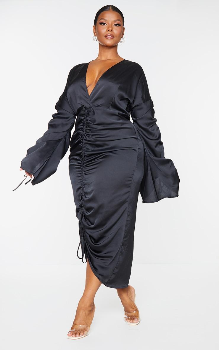 Plus Black Satin Ruched Plunge Bodycon Midi Dress 3