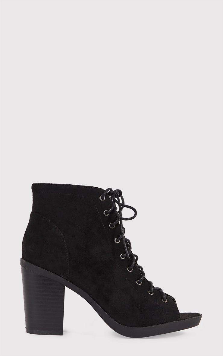 Valento Black Faux Suede Lace Up Peep Toe Ankle Boots 1