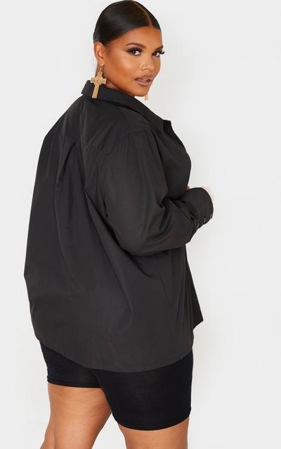 Plus Black Oversized Cuff Shirt