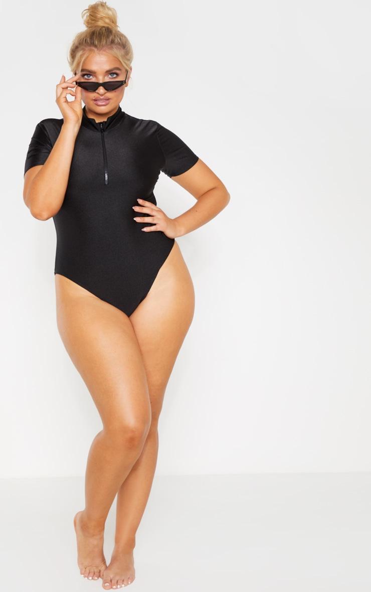 Plus Black Zip Detail High Neck Swimsuit 2