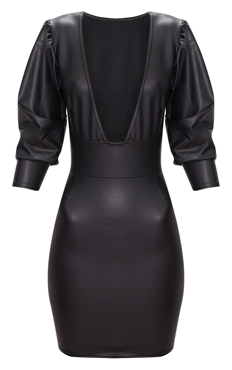 Black PU Long Sleeve Plunge Bodycon Dress 3