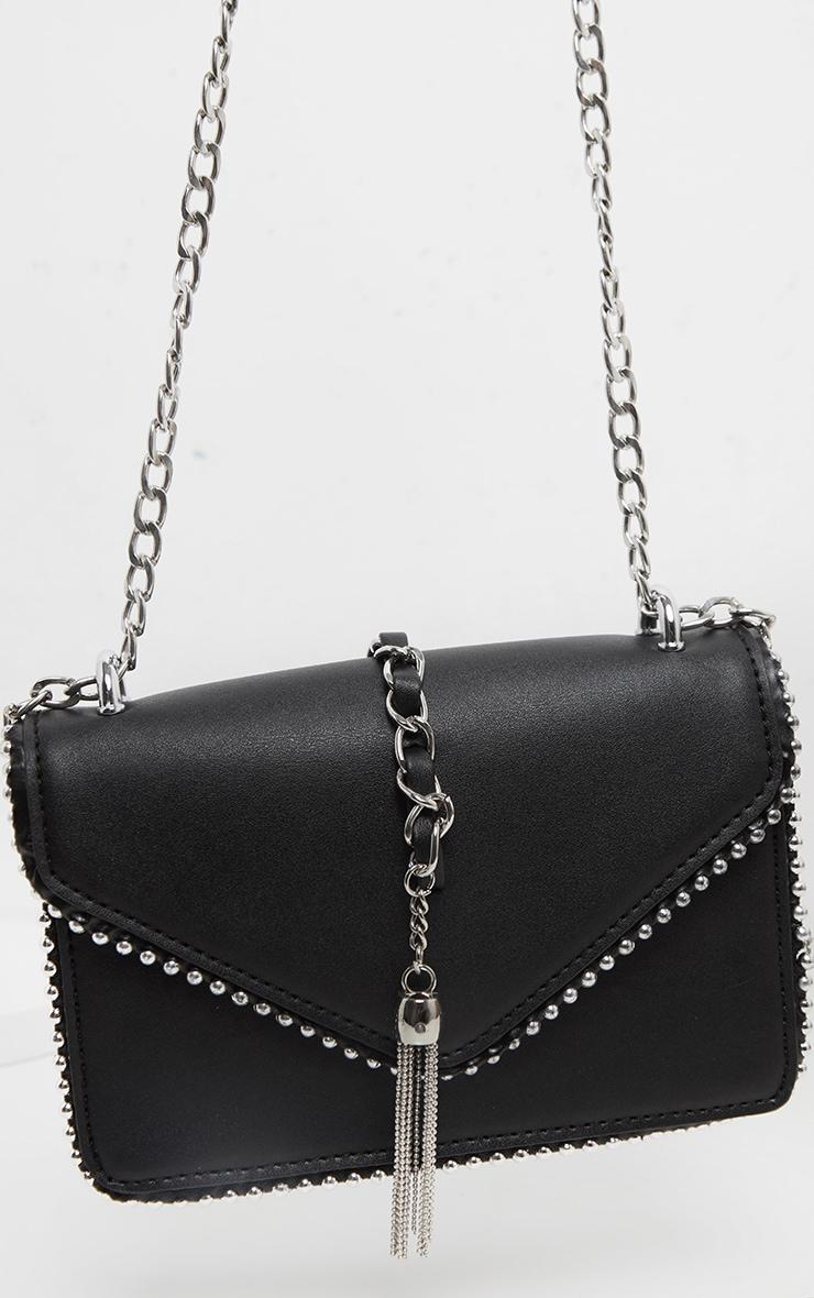 Black PU Chain and Tassel Trim Cross Body Bag 3