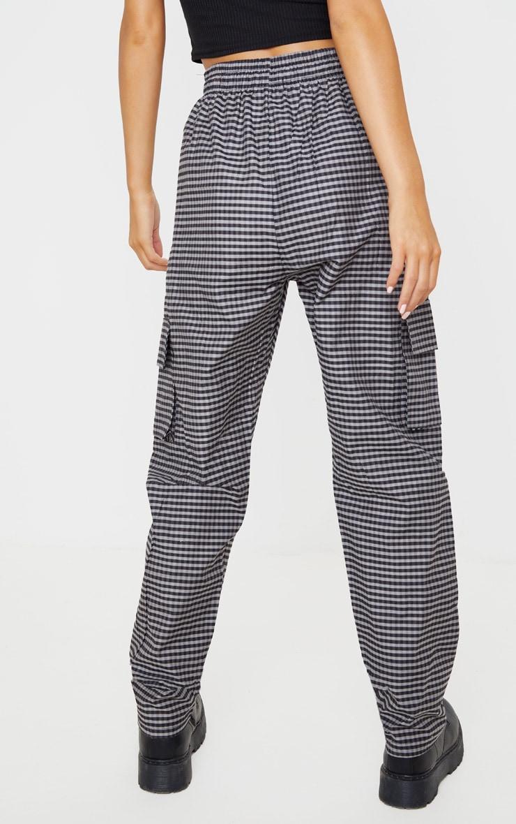 Grey Woven Checked Cargo Trouser 4