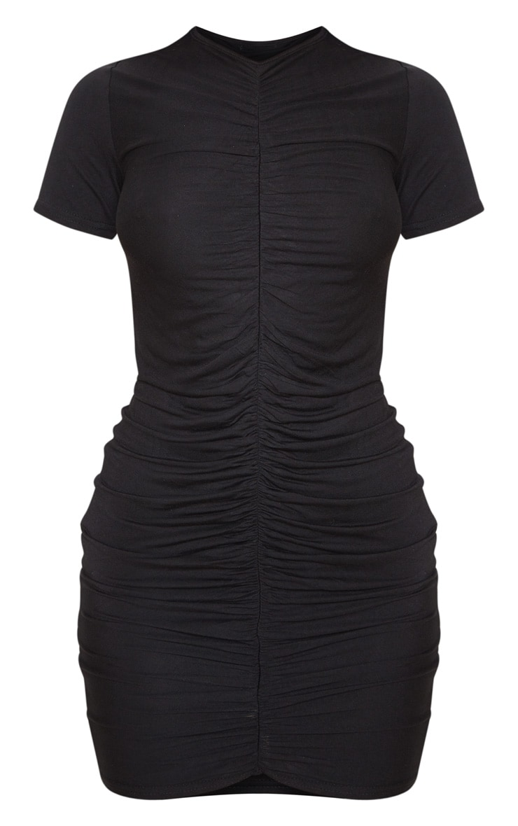 Black Ruched Front T Shirt Dress 3