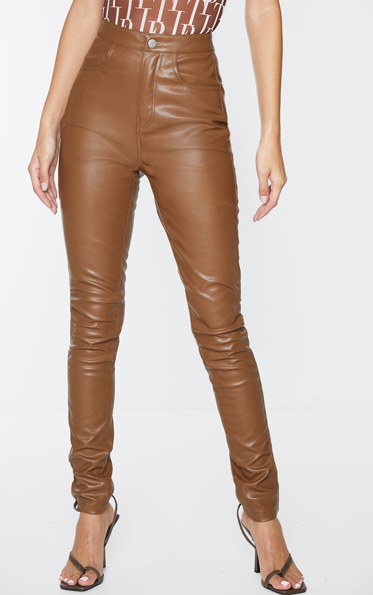 Chocolate Button Up Faux Leather Skinny Trousers 2
