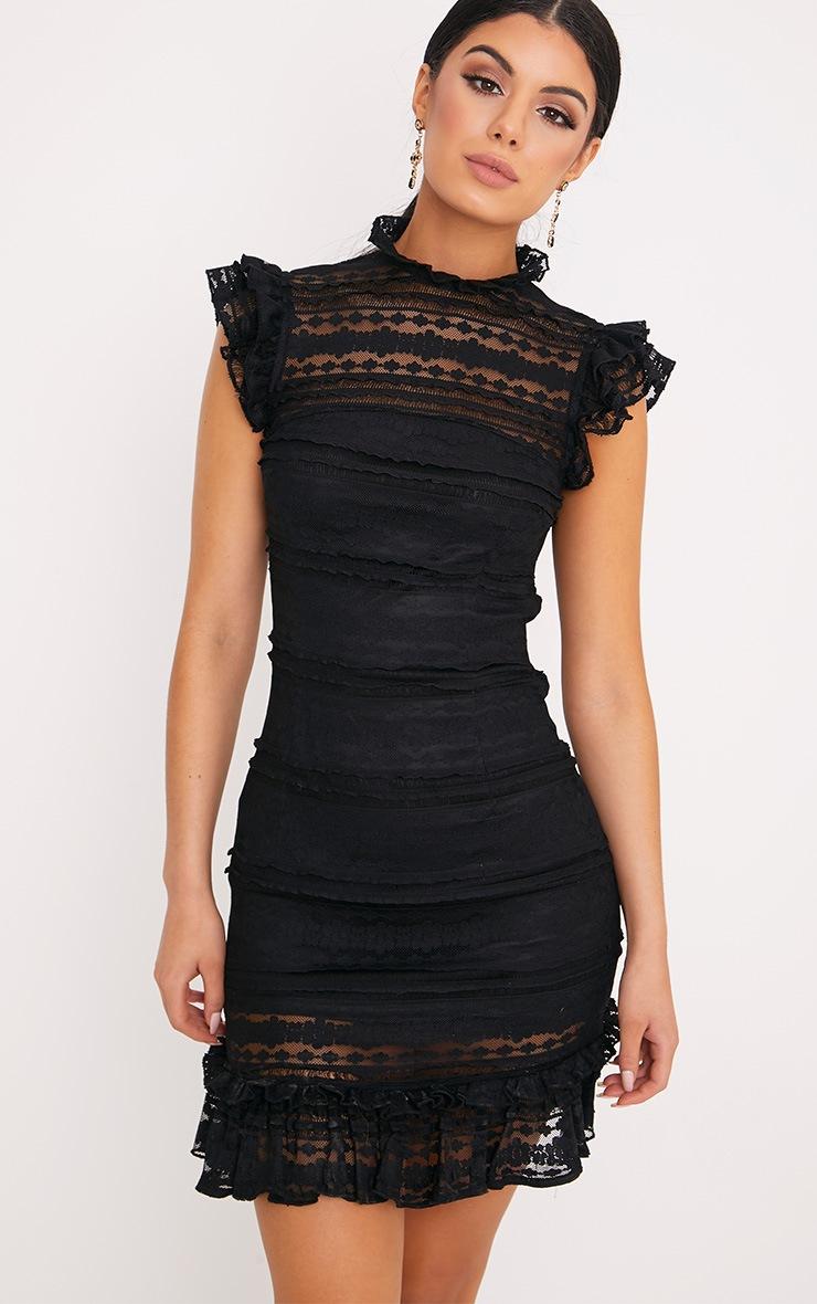 Clariya Black Frill Neck Ruffle Layer Lace Bodycon Dress