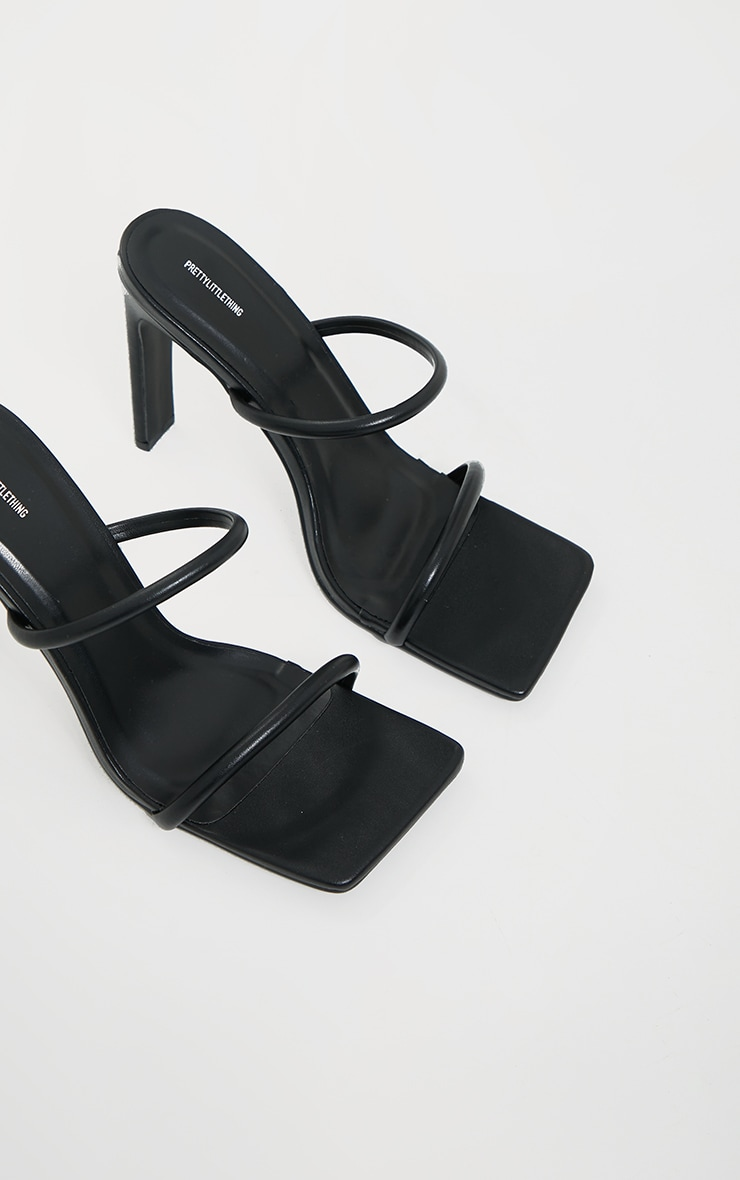 Black PU Extreme Square Toe Twin Strap Mule High Heels 3