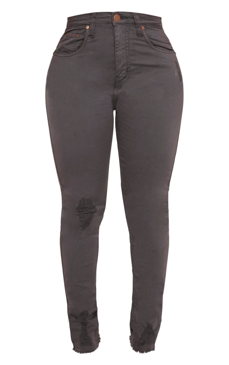 Shape Charcoal High Waisted Distressed Cuff Jeans 3