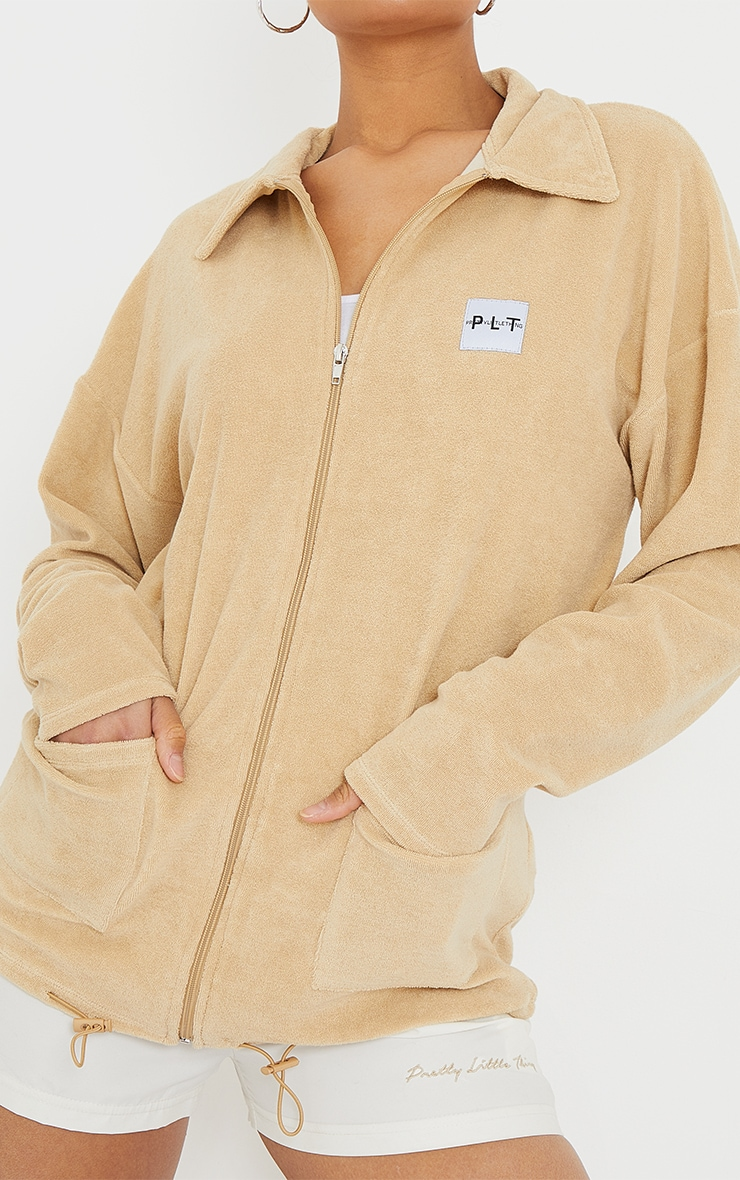 PRETTYLITTLETHING Sand Towelling Zip Up Tracksuit Jacket 4