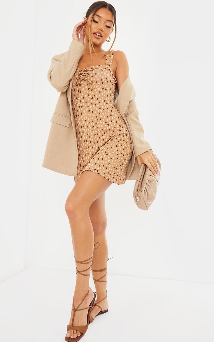 Nude Dalmatian Print Frill Detail Shift Dress 1
