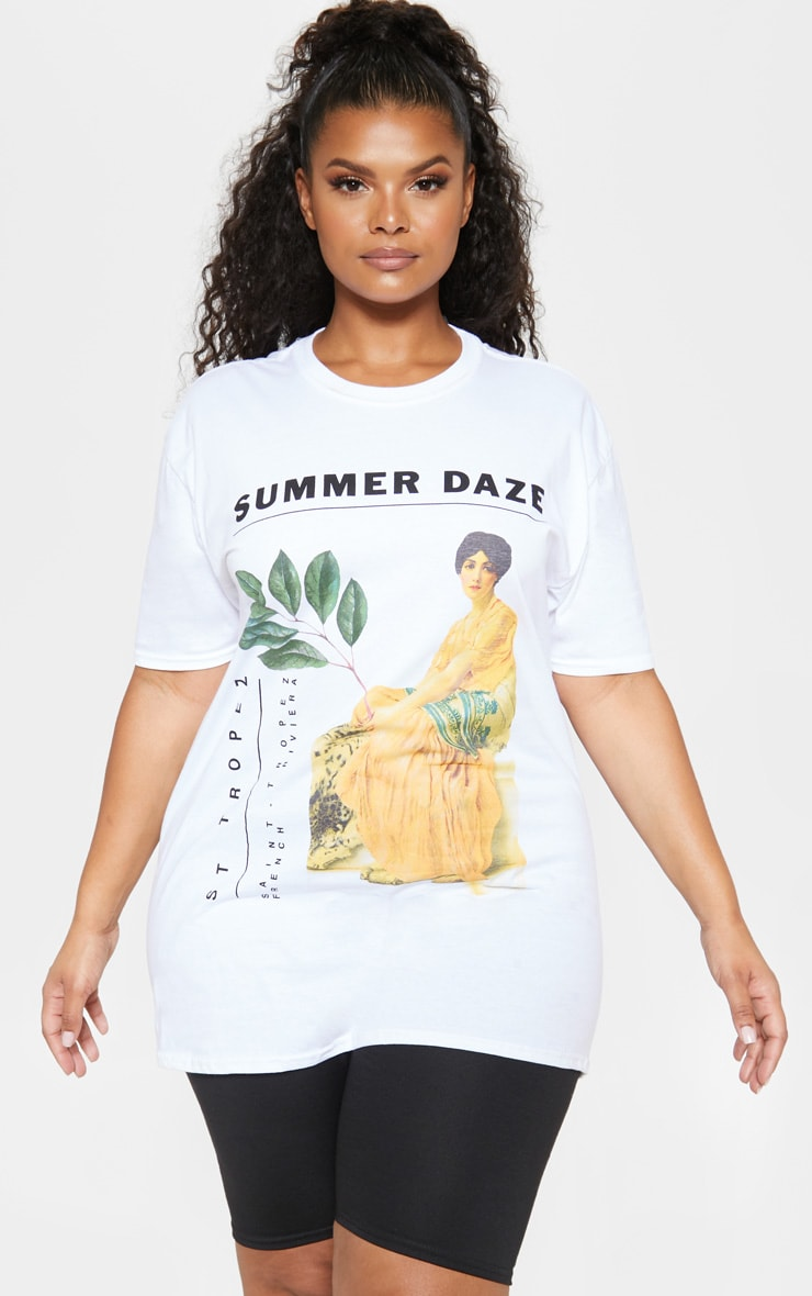 PLT Plus - T-shirt blanc à imprimé Summer Daze 1