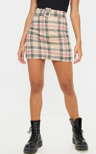 Stone Check Belted Mini Skirt