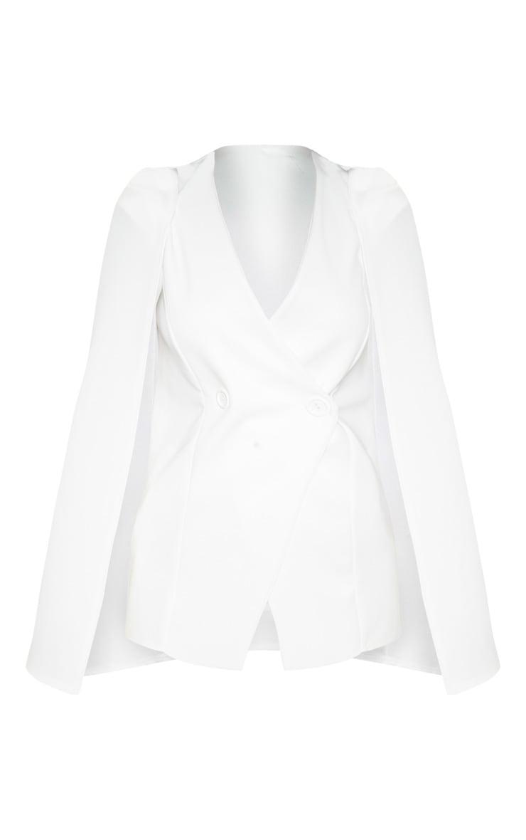 White Button Front Cape Blazer 3
