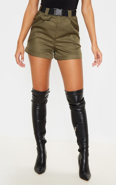 Olive Khaki Woven Belted Turn Up Hem Shorts
