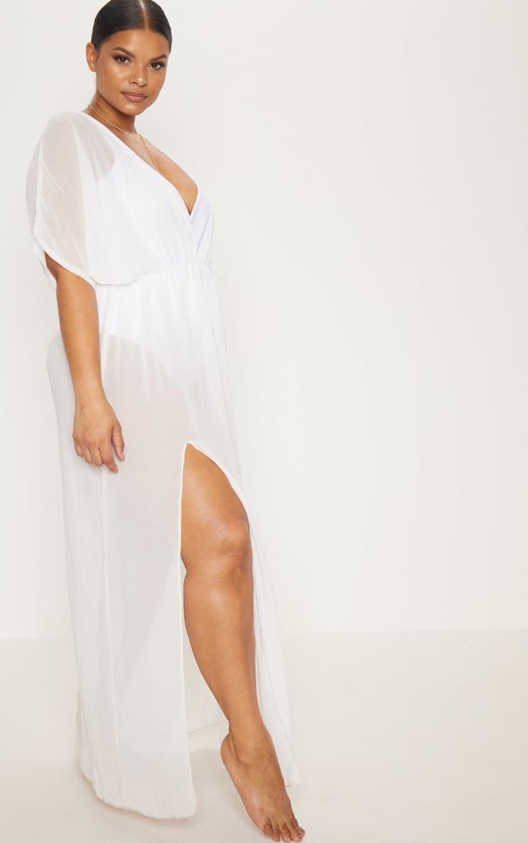 Plus White Chiffon Plunge Sheer Maxi Dress 4