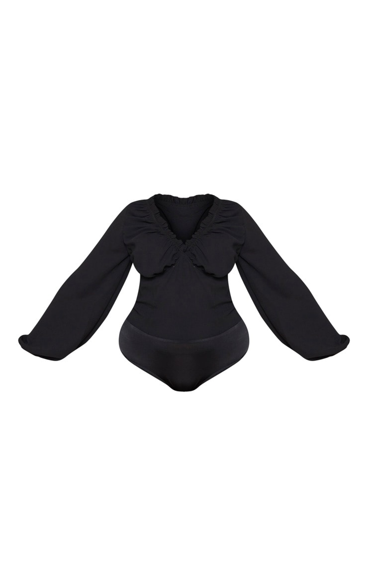 Plus Black Milkmaid Frill Cup Bodysuit  3