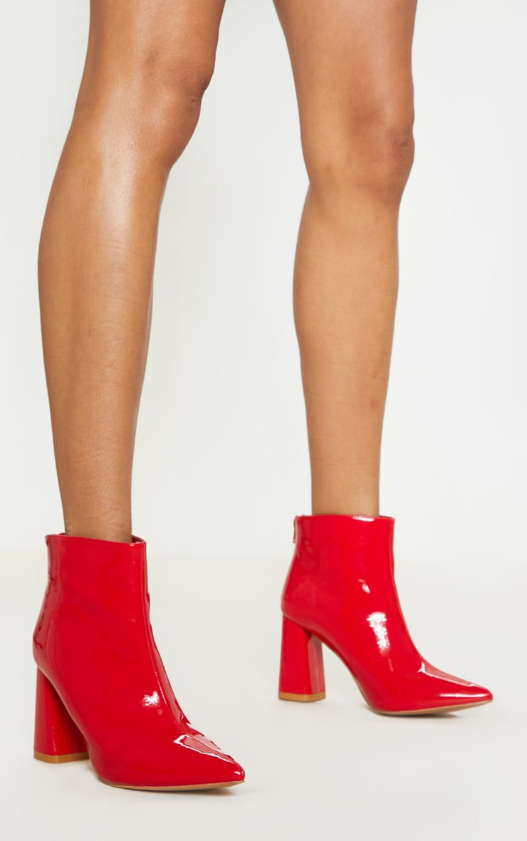 Red Patent Block Heel Point Ankle Boot 2