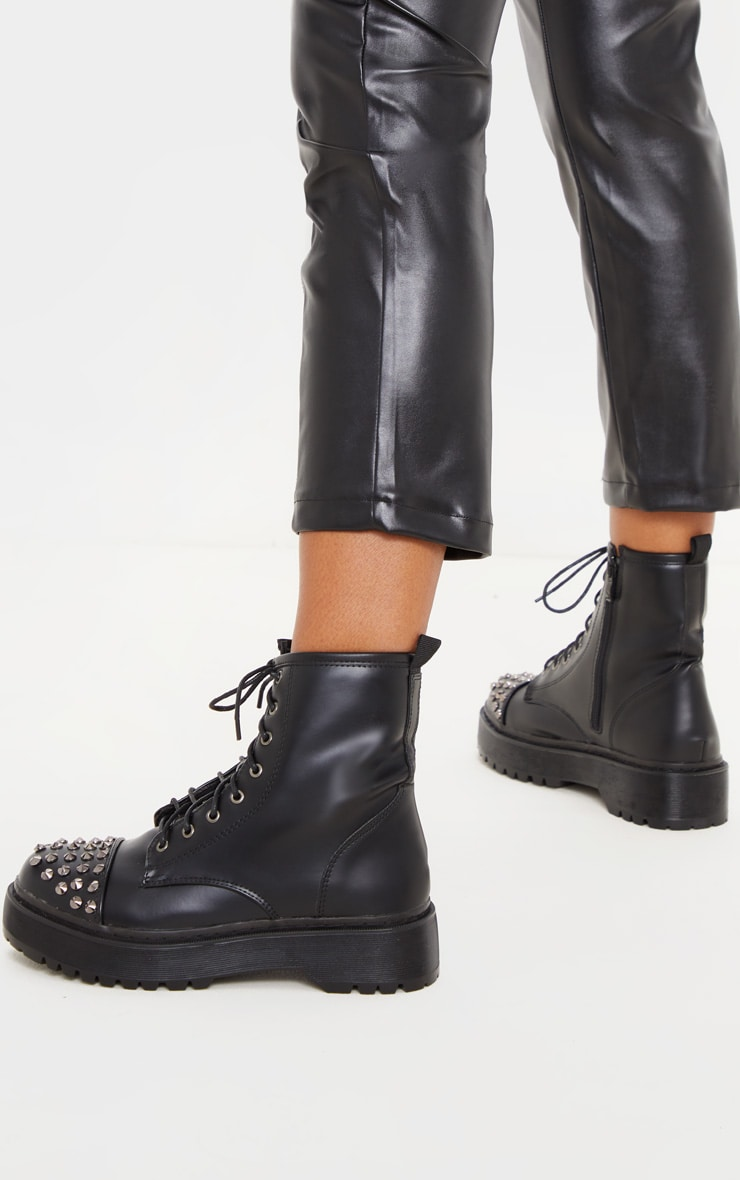Black Stud Toecap Chunky Lace Up Boot 2