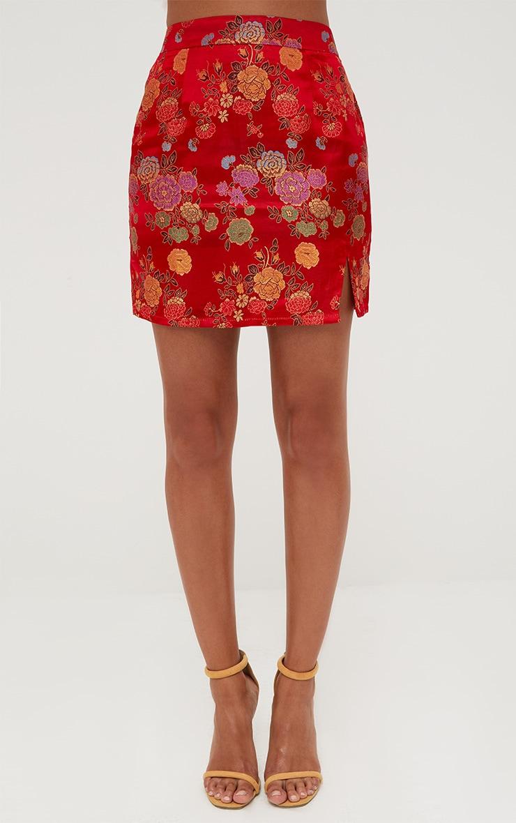 Red Oriental Jacquard Split Mini Skirt 2