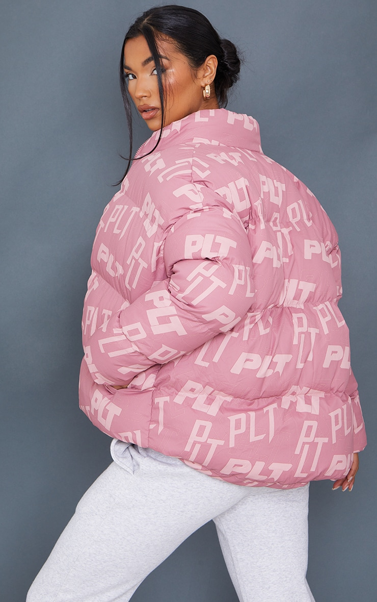 PRETTYLITTLETHING Pink Mix Print Puffer 2