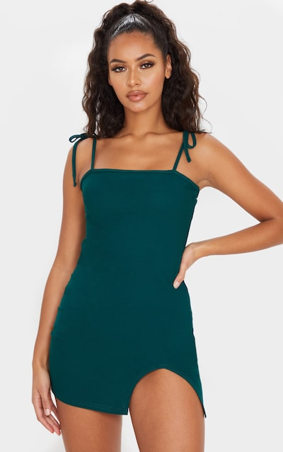 Emerald Green Tie Shoulder Bodycon Dress