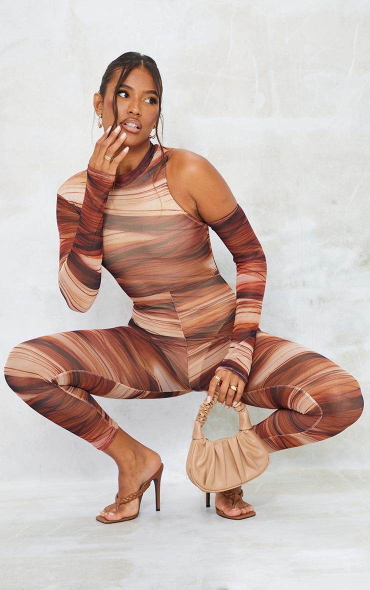Chocolate Abstract Print Mesh Asymmetric Shoulder Thumbhole Jumpsuit 3