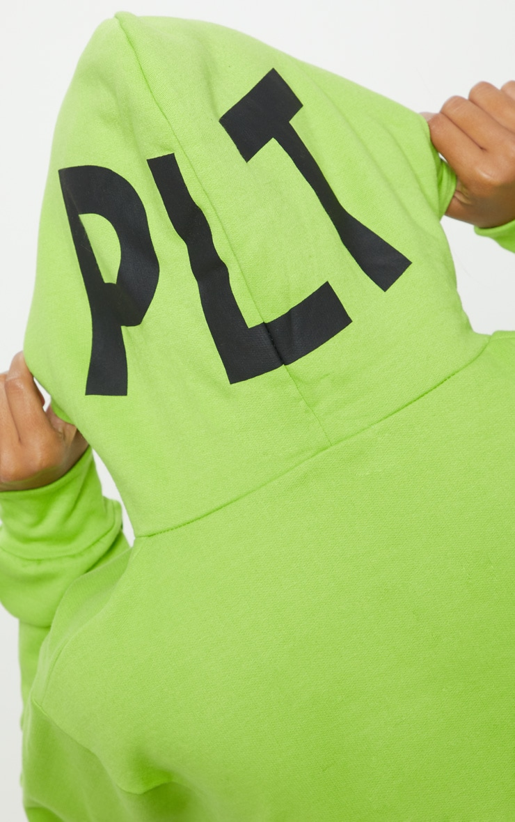 PRETTYLITTLETHING Lime Print Hoodie 5
