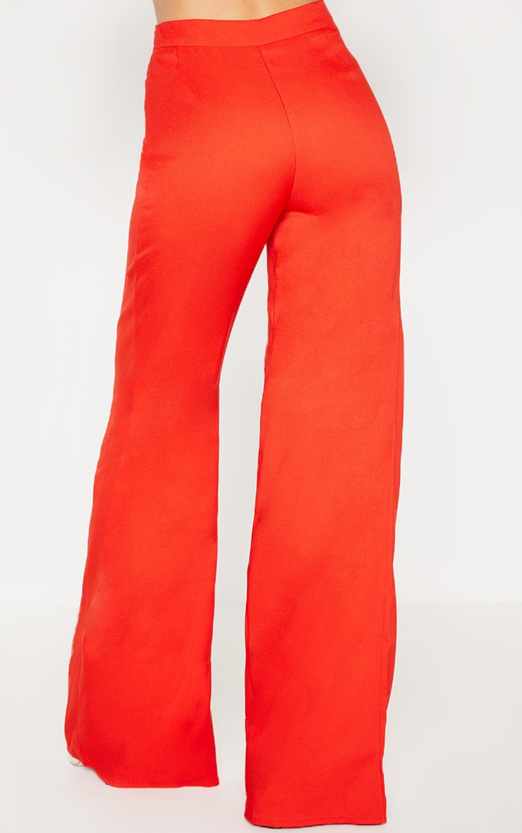 Red Woven Wide Leg Trouser 4